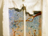 """""""La Ventana"""" a window on an inner space, in mosaic and marble by Silvina Spravkin, Pietrasanta-based sculptor"""
