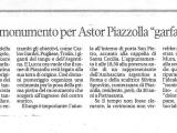 "In the news: local media anticipates the Astor Piazzolla ""Foundation Stone"" Ceremony, scheduled for tonight, in Lucca."